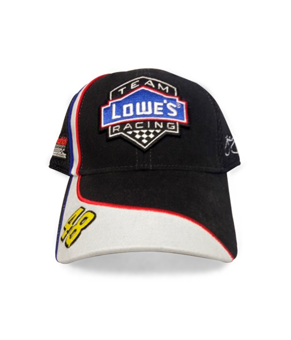 ccc65a479eed7 Jimmie Johnson  48 Team Lowes Black Mesh Racing Hat