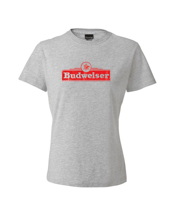 b17904681 Budweiser Ladies Iconic Gray Crew Neck T-Shirt - The Beer Gear Store