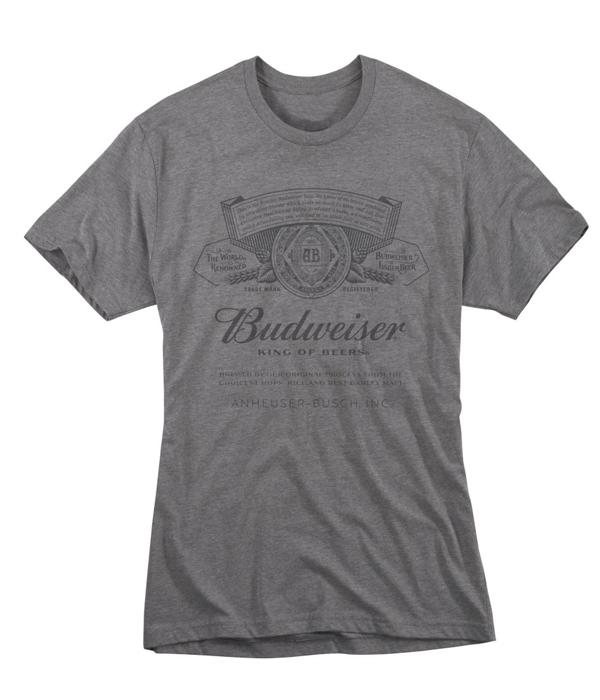 d87d0ee3 Budweiser Gray Label Crew Neck T-Shirt - The Beer Gear Store