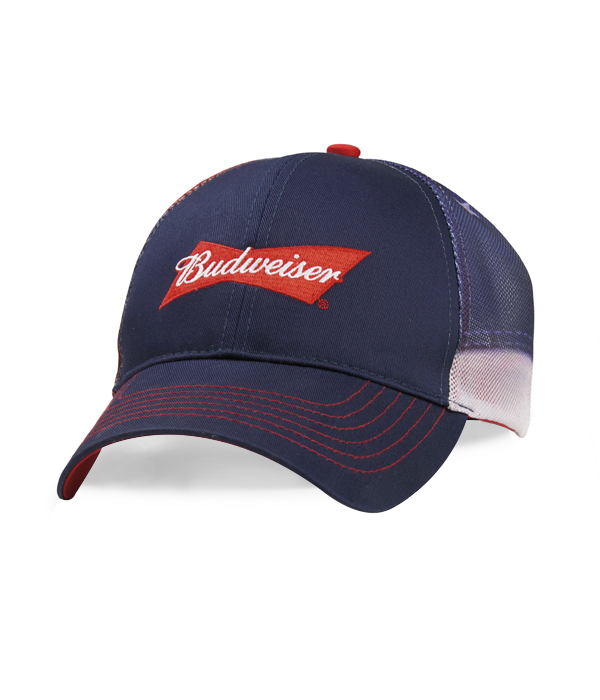 eff3121b3 Budweiser Red White And Blue Mesh Back Hat