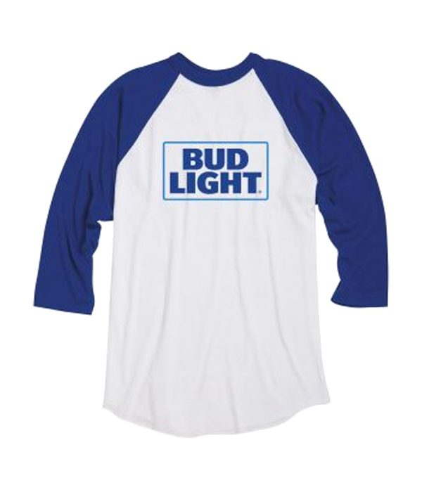 59c8328c39df Bud Light Raglan Sleeve White T-shirt - The Beer Gear Store