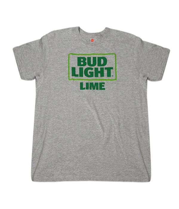 e1908ea4 Bud Light Lime Square Logo Gray T-Shirt - The Beer Gear Store