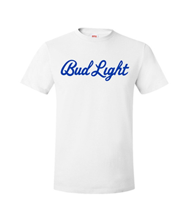 969ae13b887f Bud Light Script White Crew Neck T-Shirt - The Beer Gear Store