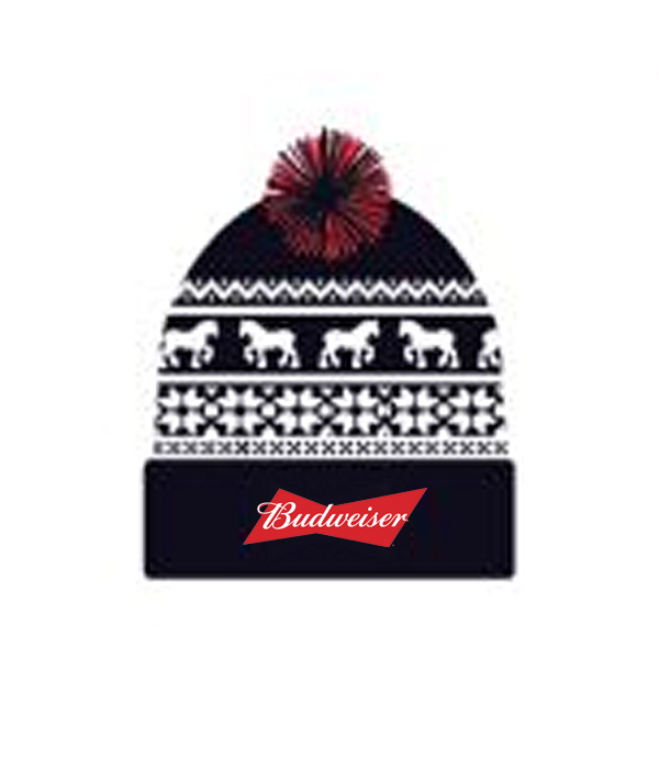 Budweiser Holiday Beanie w  Pom - The Beer Gear Store 5ec72d20ea7d