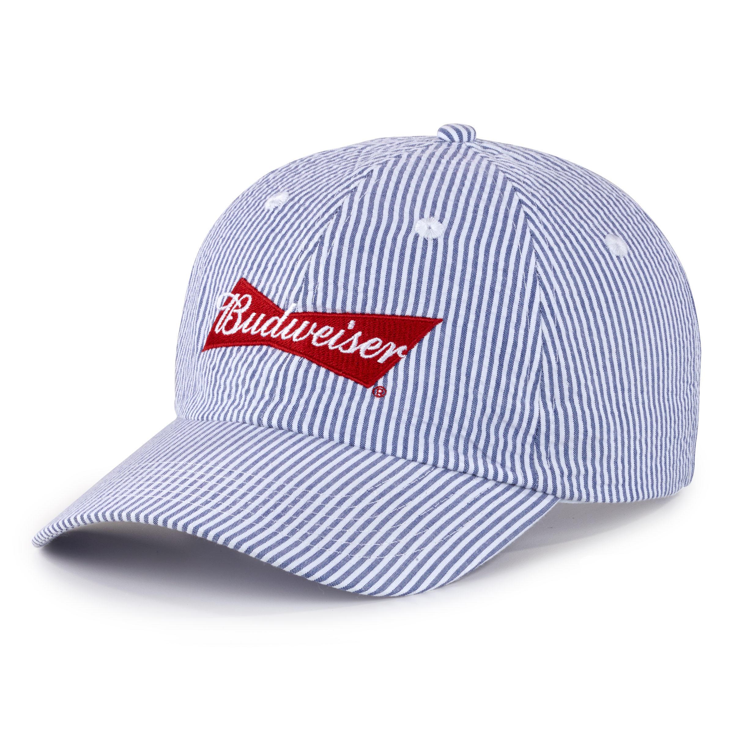 70b497db8add5 Budweiser Seersucker Striped Hat - The Beer Gear Store