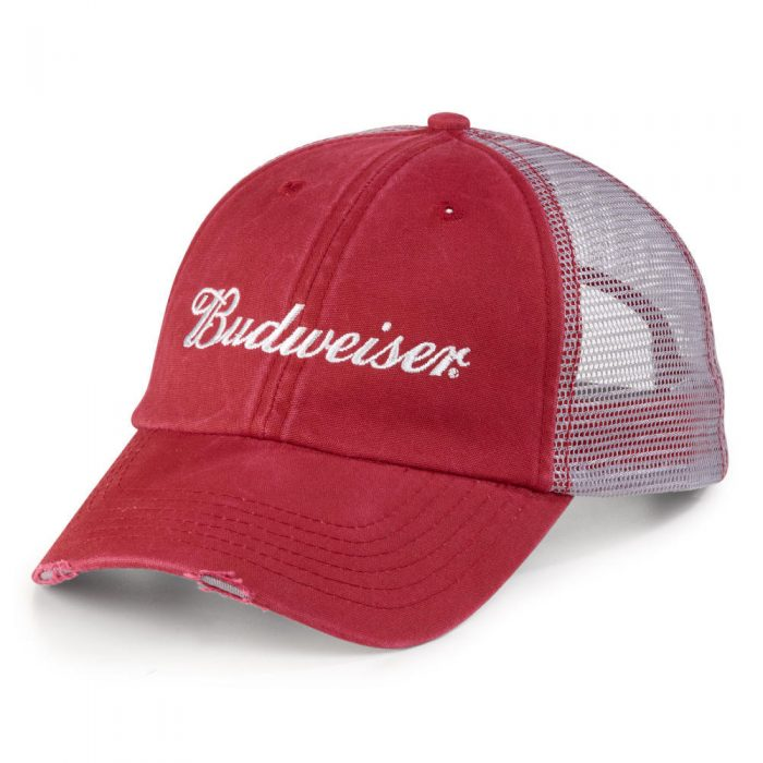 3c9f8be64 Budweiser Red Mesh Back Hat
